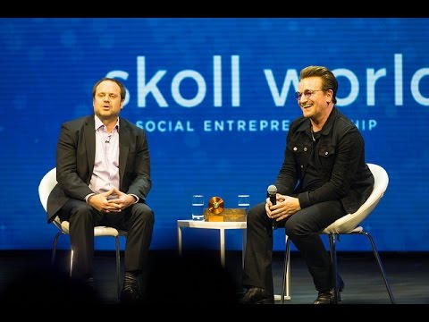 Bono in discussion with Jeff Skoll at the Skoll World Forum 2017 #SkollWF