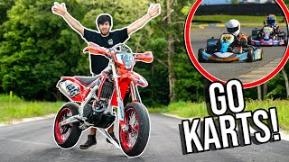 WE WENT GO KART RACING On Our SUPERMOTOS! *EPIC*