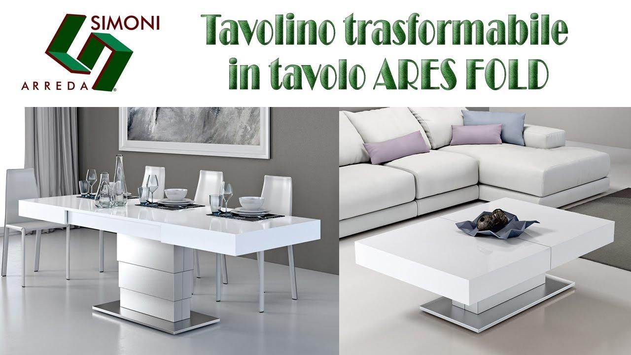 Tavolini Da Salotto Trasformabili In Tavolo.Tavolino Trasformabile In Tavolo Da Pranzo Ares Fold
