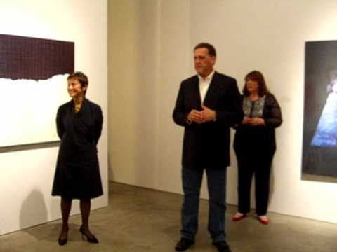 Artist Janis Jakobson addresses Latvian president Andris Bērziņš
