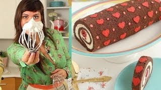 One of Dulce Delight's most viewed videos: How to Make Heart Cake Roll-Chocolate Cake Roll filled with Whipped Ganache Recipe