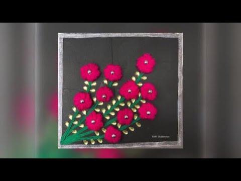 Simple home decor / easy craft / woollen flower with pen / simple flower / beginners & kids zaana-11