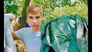 Как установить палатку. Мой первый день в палаточном лагере. Лучший отдых дикарем