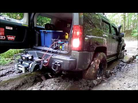 4x4 Recovery from Mud Hole using Hitch mounted WARN Winch on
