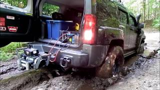 4x4 Recovery from Mud Hole using Hitch mounted WARN Winch on Receiver