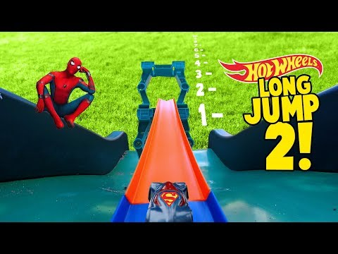 Thumbnail: Hot Wheels Long Jump Challenge 2! With Spider-Man Superman Mario and More Super Hero Cars by KIDCITY