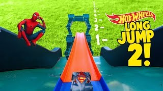 Hot Wheels Long Jump Challenge 2! With Spider-Man Superman Mario and More Super Hero Cars by KIDCITY