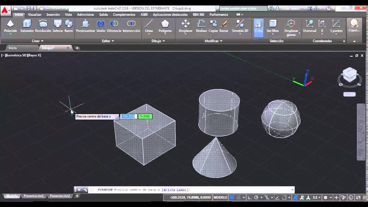 Construccion de Solidos Basicos 3D en Autocad 2016 - YouTube