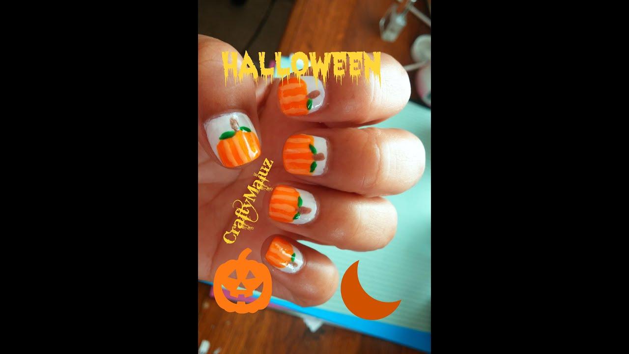 Tutorial: Diseño de uñas Halloween Calabazas - YouTube