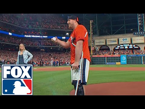 JJ Watt Throws Out First Pitch Ahead Of Game 3 Of The World Series | 2017 MLB Playoffs | FOX MLB