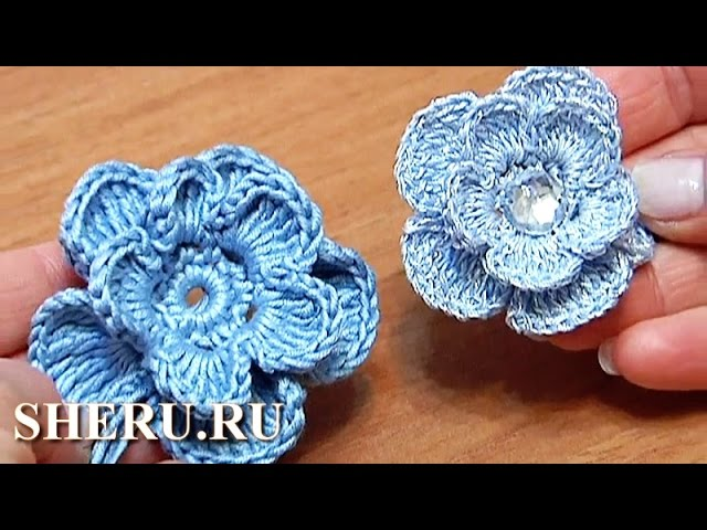 How To Crochet Layered Flower урок 6 вязать крючком цветок
