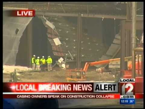 CINCINNATI OHIO CASINO COLLAPSE & BUS CRASH INTO NEWS CONFERENCE