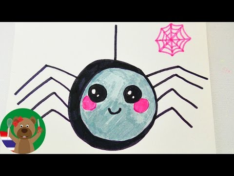วิธีวาดแมงมุมตาแป๋วสำหรับการ์ดอวยพรวันเกิดหรือการ์ดเชิญ