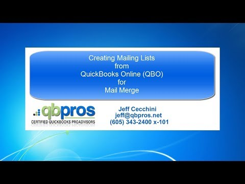 Video Tutorial to create mailing lists from QuickBooks