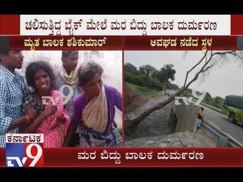 Heavy Rain in Tumkur: 8-yr-old Boy Killed as Tree Falls on Bike