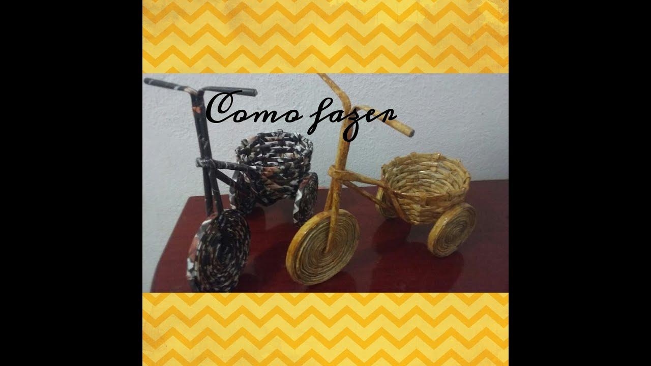 Aparador Feito De Paletes ~ Artesanato com jornal como fazer enfeite bicicletinha YouTube