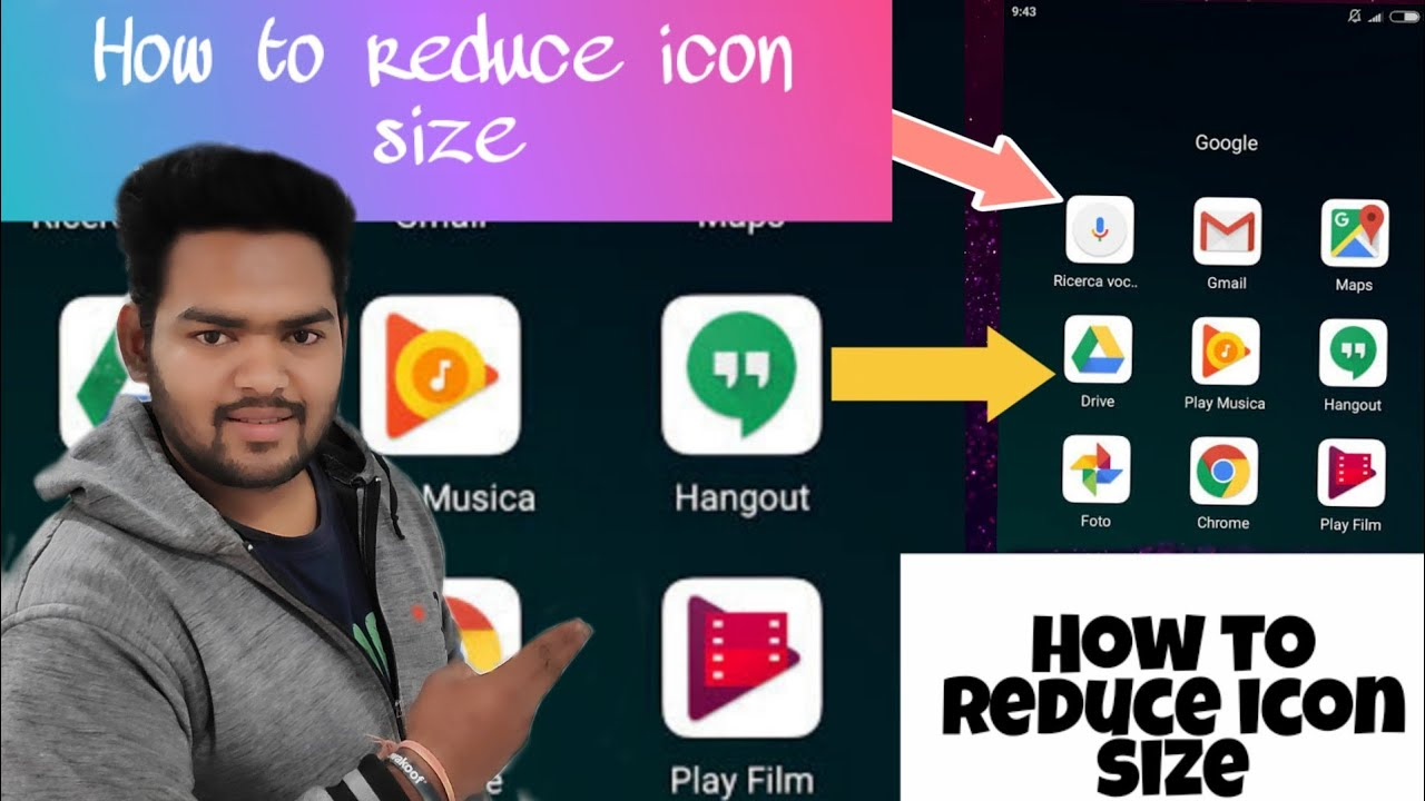 how to make app icons bigger or smaller on android (Hindi ...