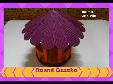 DIY Miniature Round Gazebo //Popsicle Sticks + Kokoru Paper Craft