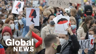 Poland protests: Thousands gather for 7th day of abortion demonstrations in Warsaw