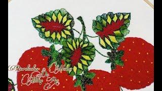 bordado fantasia puntada hojas grandes de las fresas