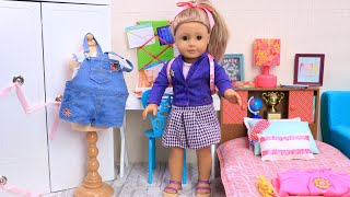 American Girl Doll After School Evening Routine in Dollhouse by Play Toys!
