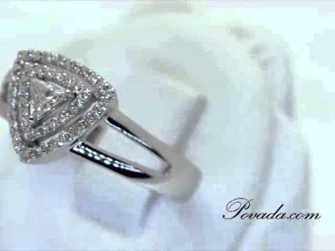 Trilliant Cut Diamond Promise Ring in White Gold