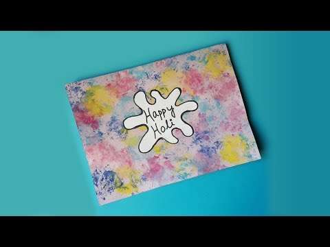 Happy Holi Card design idea | Colorful Holi Card painting using stamps made of flower