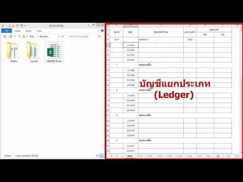 ตัวอย่าง Excel Macro (VBA) กับบัญชีแยกประเภท (Ledger)