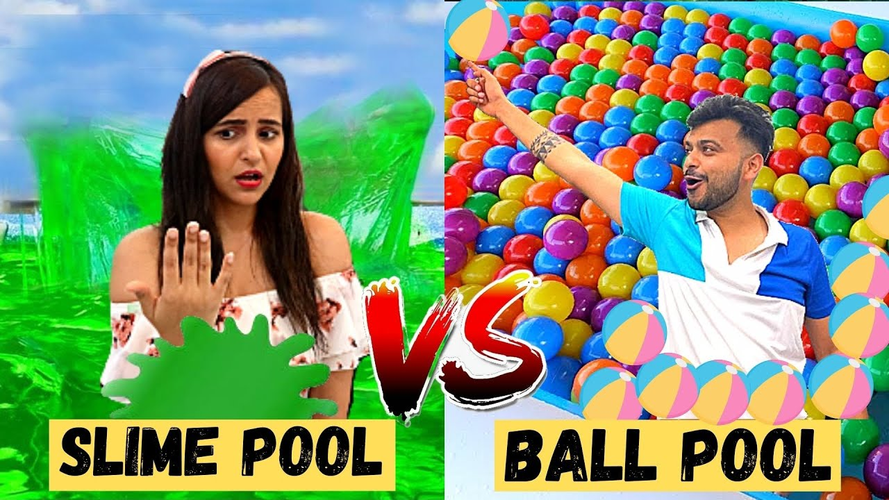 Living in SLIME POOL VS BALL POOL (24 HOURS)