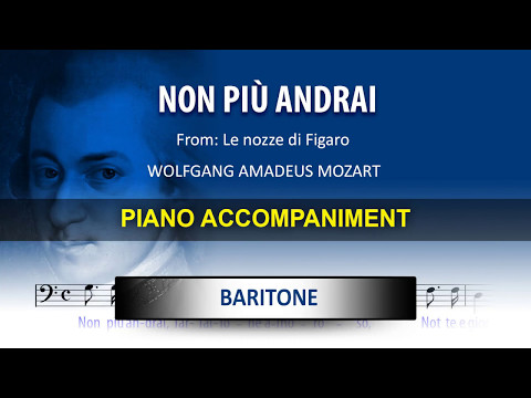 Non più andrai  / Karaoke piano / Wolfgang Amadeus Mozart / Baritone