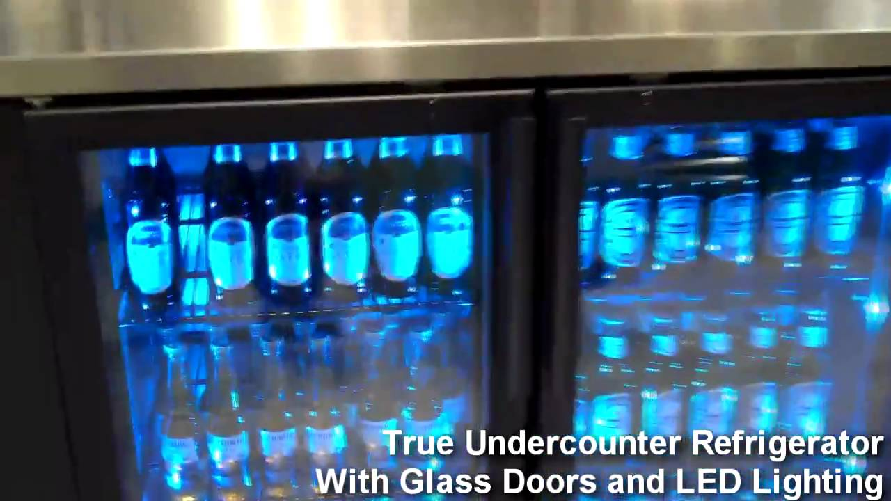 True Undercounter Refrigerator With Glass Doors and LED