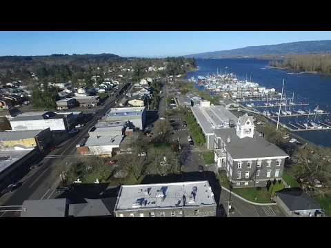Downtown St Helens, Oregon from the air