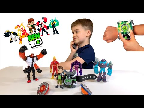 Видео про игрушки  Бен 10, топ 5 супер героев и часы бен 10 трансформер