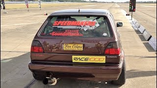 1200 HP VW Golf Mk2 - Half Mile Race, LOUD Exhaust Sound