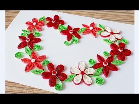 DIY Paper quilling Flower Card Design 37 // Quilling flower heart // Valentine's Card