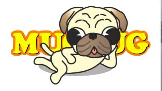 Line Sticker The Pug Of A Lovely Little Dog Goes Into A Mug.