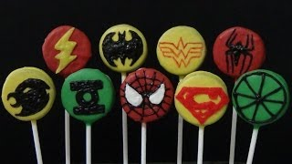 how to make oreo cookies pops and decorate them as justice league and spiderman