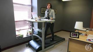Gazette Fitness columnist Jill Barker speaks about using a treadmill workstation at the office.