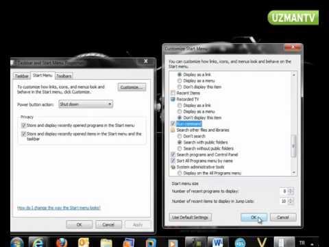 Windows 7 Başlat Menüsüne çalıştır-(run) Nasıl Eklenir.