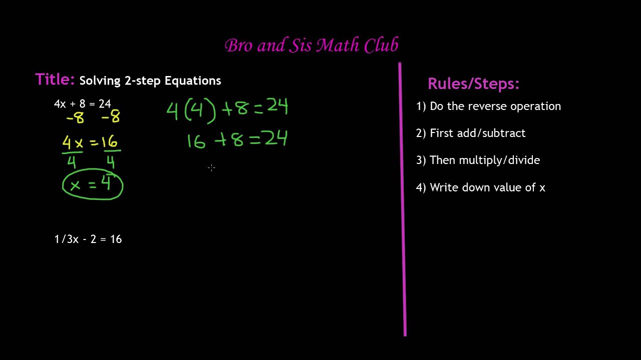 6th Grade Math Solving Two Step Equations - YouTube