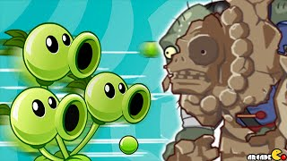 Plants Vs Zombies 2: BOSS Mode Three Peashooter With Sunflower Singer! (PVZ 2 Chinese Version)