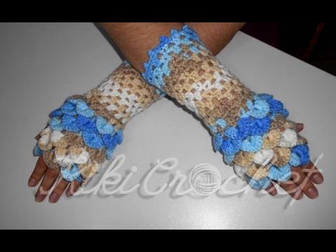 Crochet Crocodile Stitch Fingerless Gloves Youtube