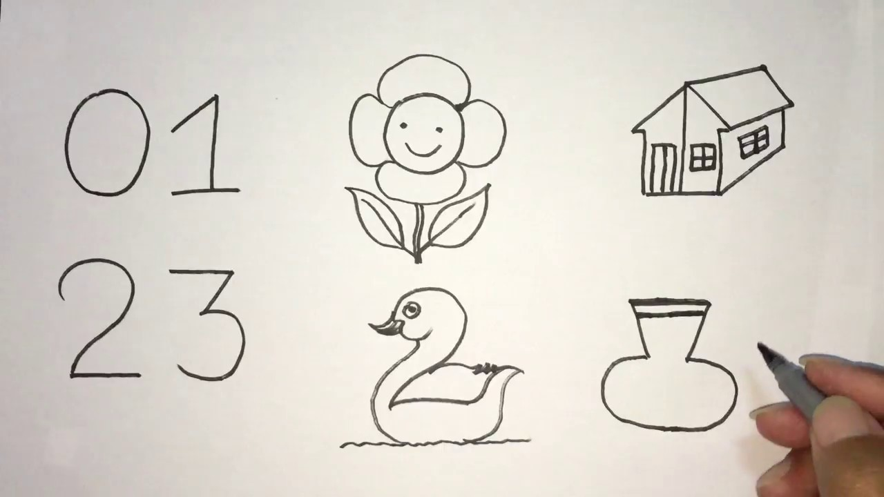 How To Draw Pictures Using Numbers 0 To 3 Learn Drawing Pictures Sry Sothea Youtube