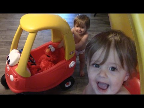 Elmo Plays With Cats In Ride On Push Car, Baby Drifting With Dad And Bearded Belly Raspberries!
