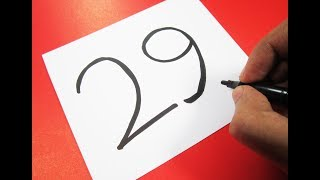How to turn Number 29 into a Cartoon DUCK ! Learn drawing art on paper for kids