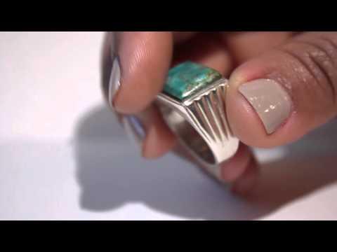 Watch Video 925 Sterling Silver Men's Turquoise  Men Size 8.5 0Y