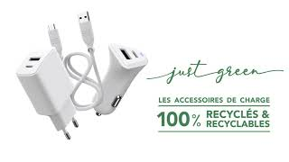 Vidéo: JUST GREEN, Câble synchro et charge USBC /Lightning Apple blanc 3A 2 m MFi (Made For iPhone)
