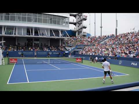 Novak Djokovic vs Adrian Mannarino | Cincinnati 2018 2nd Set 4th & 5th game Court Level View