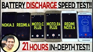 MOTO E4 PLUS vs Redmi 4, Note 4, C Plus & Nokia 3 -Battery *DISCHARGE* Speed Test (UNSATISFIED!)