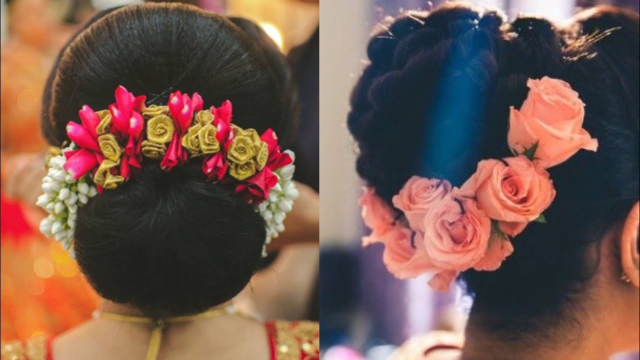 Beautiful Flower Bun Hairstyle Engagement Hairstyle
